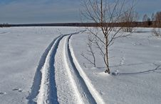 Free Snowmobile Trail In Winter Field Royalty Free Stock Photo - 29559945