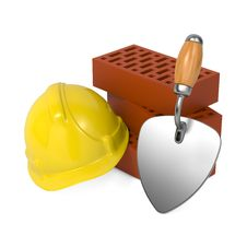 Free Hard Helmet, Trowel And Bricks. Royalty Free Stock Photography - 29559967