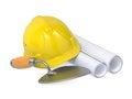 Free Hard Helmet, Trowel And Drawings. Stock Images - 29560074