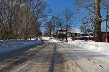 Free Snowy Road In A Village Stock Photos - 29560033