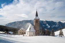 Free A Wintertime View Of A Small Church With A Tall Steeple Stock Image - 29560281