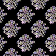 Free Seamless Floral Pattern At Black Background Royalty Free Stock Photos - 29561038