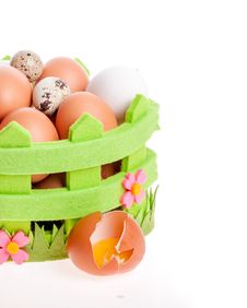 Free Broken Chicken Egg Lies Near A Decorative Basket Of Eggs Royalty Free Stock Images - 29562439