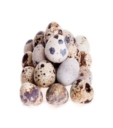 Free Quail Eggs Laid In A Row On White Stock Images - 29562464