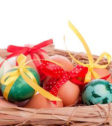 Free Easter Eggs In A Straw Basket Stock Photo - 29562470