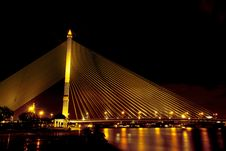 Free Rama VIII Bridge At Night Stock Images - 29566144