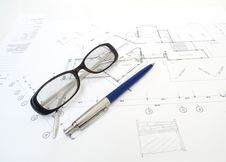 Free Glasses And A Pencil With Architect's Plans. Stock Images - 29566244