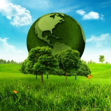 Free Green Earth. Royalty Free Stock Images - 29576149