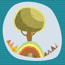 Free Cartoon Tree On A Blue Sky Background Stock Photo - 29579280