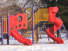 Free Playground Slides In Winter. Royalty Free Stock Photo - 29579635