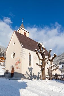 A Wintertime View Of A Small Church With A Tall Steeple Royalty Free Stock Photo
