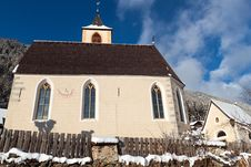 Free A Wintertime View Of A Small Church With A Tall Steeple Royalty Free Stock Image - 29584486