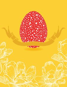 Free Easter Card With Flowers And Red Egg Stock Photos - 29585383