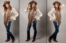 Free Cowgirl Triptych Royalty Free Stock Photos - 29585908