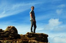 Free Solitude-Young Man Alone On Mountain Top Royalty Free Stock Image - 29587476