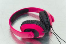 Pink Headphone Stock Photo