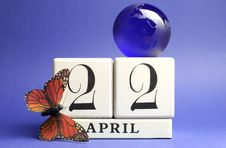 Earth Day, Save The Date White Block Calendar, April 22 - Blue Theme Stock Image