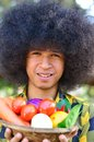 Free Man Holing Bucket Of Colourful Vegetables Royalty Free Stock Images - 29594909