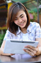 Free Young Student Have Good News On The Tablet Screen Royalty Free Stock Photos - 29594968
