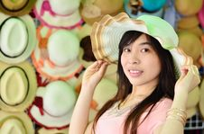 Free Beautiful Asian Woman With Hat Stock Photo - 29594860