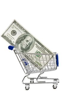 Free Shopping Cart With Money XXXL Stock Photos - 29599543