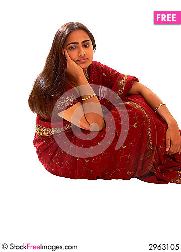 Free Indian Lady In Red Dress. Royalty Free Stock Photo - 2963105