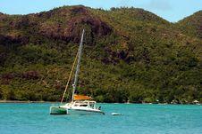 Catamaran. Arriving To Paradise. Royalty Free Stock Photo