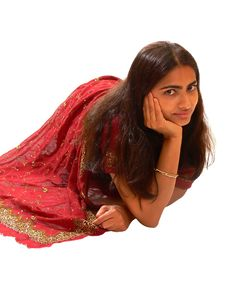 Free Indian Lady In Red Dress. Stock Photos - 2963113
