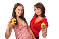Free Two Young Woman With Fruit Stock Photo - 2964010