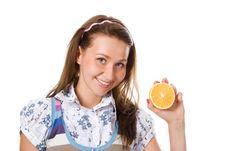 Free Beauty Girl With Orange Stock Image - 2964031