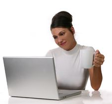 Free Young Woman On Computer Royalty Free Stock Photo - 2964505