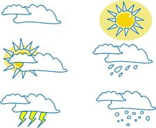 Free Weather Icons For All Seasons Royalty Free Stock Image - 2965156