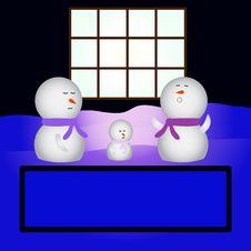 Family Snowmen Sleeping In Fro Stock Photo