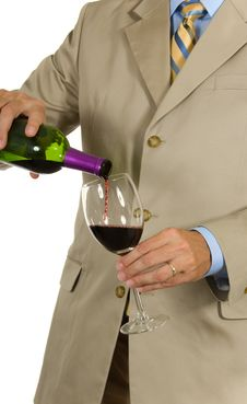 Free Man In Suit Pouring Wine Royalty Free Stock Photos - 2968618