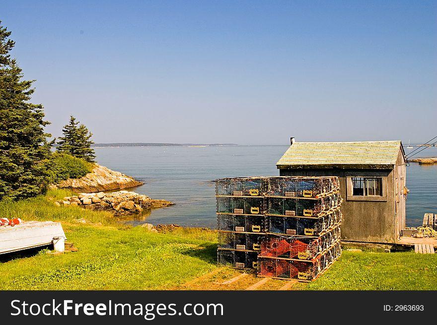 Maine fishing shack on cove