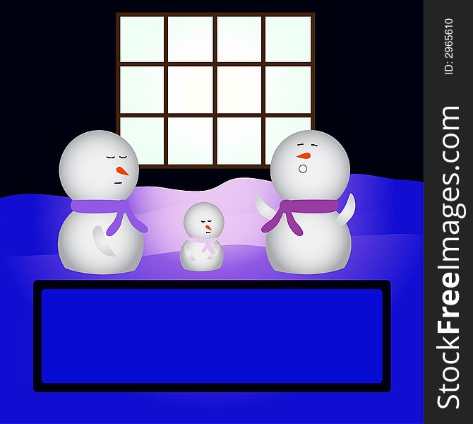 Family snowmen sleeping in fro
