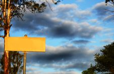 Blank Yellow Sign With Storm Clouds & Huge Gum Tree