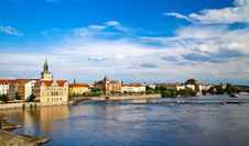 Amazing Vltava River From Charles Bridge Stock Photo