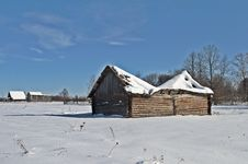 Old Barn With A Sagging Roof In Winter Stock Image