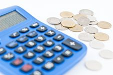 Calculator And Thai Coins Stock Image