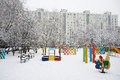 Free Playground In City Yard On Winter Season Royalty Free Stock Photography - 29618007