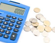 Calculator And Thai Coins Royalty Free Stock Image