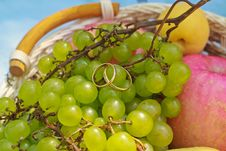 Free Wedding Rings On The Fruit Stock Photo - 29611170