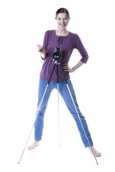 Free Women With Old Camera Royalty Free Stock Photo - 29614065