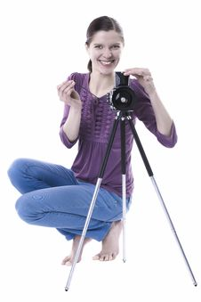 Free Women With Old Camera Stock Images - 29614084