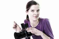 Women With Old Camera Royalty Free Stock Photos