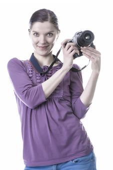 Free Women With Old Camera Stock Images - 29614404