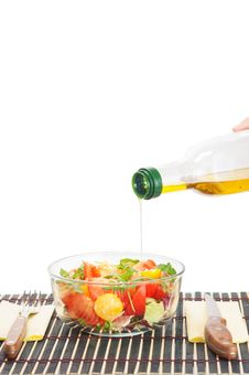 Free Vegetable Salad And Oil Stock Photo - 29615130