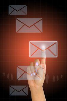 Free Female Hand Pressing E-mail Stock Image - 29615141