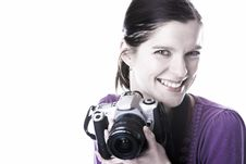 Free Beautiful Smile Woman With Camera Stock Image - 29615531